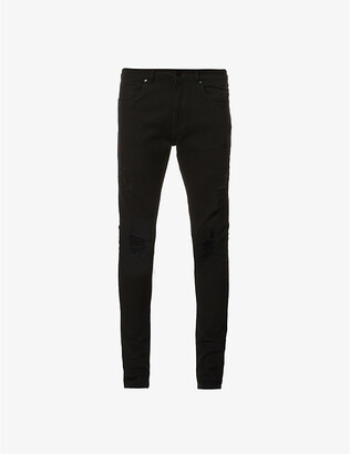 No.91 Super Skinny Distress ripped faded jeans