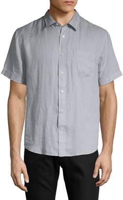 Vince Short-Sleeve Linen Button-Down Shirt