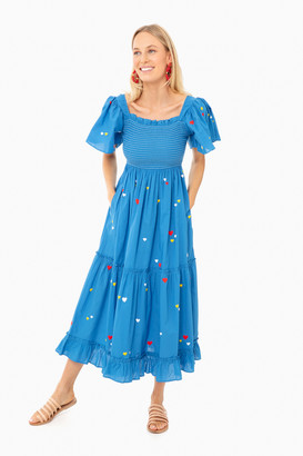 Pink City Prints Blue Hearts Lolita Long Embroidered Dress