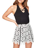 Miss Selfridge Petite Mono Lace Shorts, Black/White