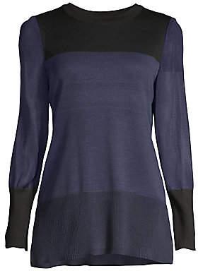 Misook Women's Sheer-Sleeve Colorblock Tunic Top