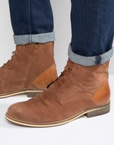 Frank Wright Lace Up Boot In Tan Suede