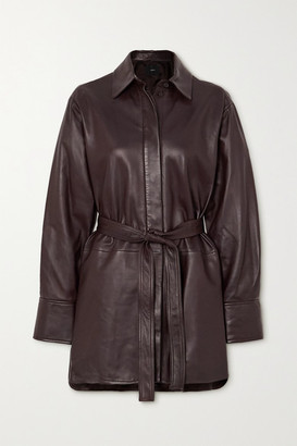 Joseph Belted Leather Jacket - Brown
