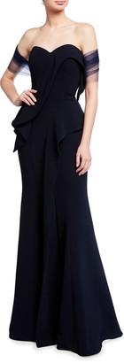 Jovani Strapless Sweetheart Peplum Gown