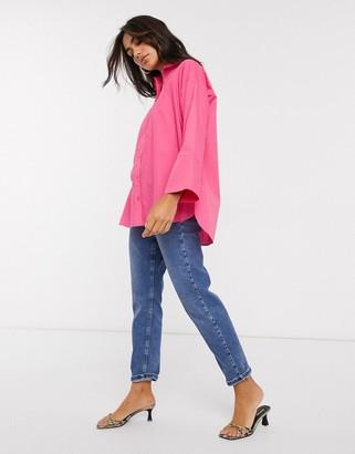 ASOS DESIGN long sleeve oversized cotton shirt in pink