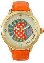 Betsey Johnson Polka Dot Fish Motif Dial and Leather Strap Watch