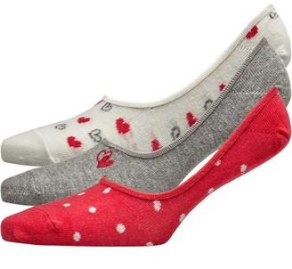 Lovestruck Womens Three Pack Low Cut Footsie Socks Heart Grey