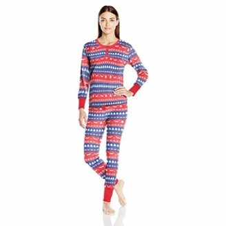 Bottoms Out Women's Striped Waffle-Knit Pajama Set