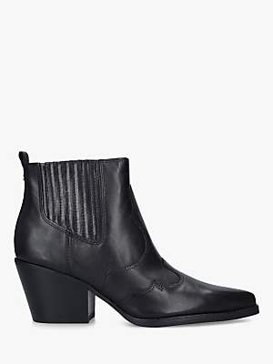 Sam Edelman Winona Block Heel Leather Cowboy Boots, Black