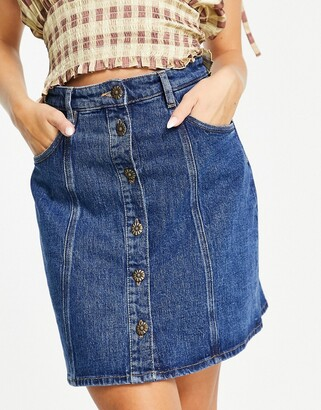 And other stories & organic blend cotton mini denim skirt with gold daisy buttons in blue