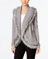 Alfani Petite Faux-Fur-Trim Cardigan, Only at Macy's