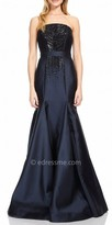 David Meister Strapless Beaded Mermaid Evening Dress