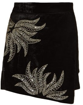 Dodo Bar Or Paula Embellished Velvet Mini Skirt - Womens - Black