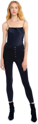 Alice + Olivia Mikah High Rise Suede Pant