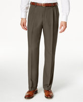 Haggar Men's Big & Tall Stria Classic-Fit ECLO Double Pleated Dress Pants
