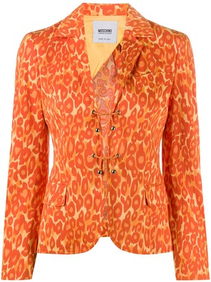 Moschino Pre Owned Leopard Print Slim-Fit Jacket
