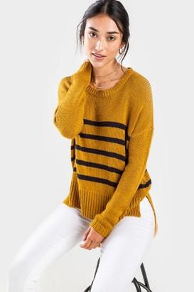 francesca's Aubrie Stripe Crewneck Sweater - Mustard
