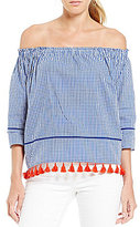 Daniel Cremieux Riley Off-the-Shoulder Tassel Blouse
