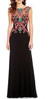 Ellie Wilde Embroidered Bodice Illusion-Yoke Long Dress