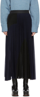 Victoria Victoria Beckham Black and Navy Pleated Skirt