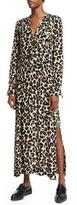 Edun Long-Sleeve Pintuck Boyfriend Shirtdress, Leopard Splatter
