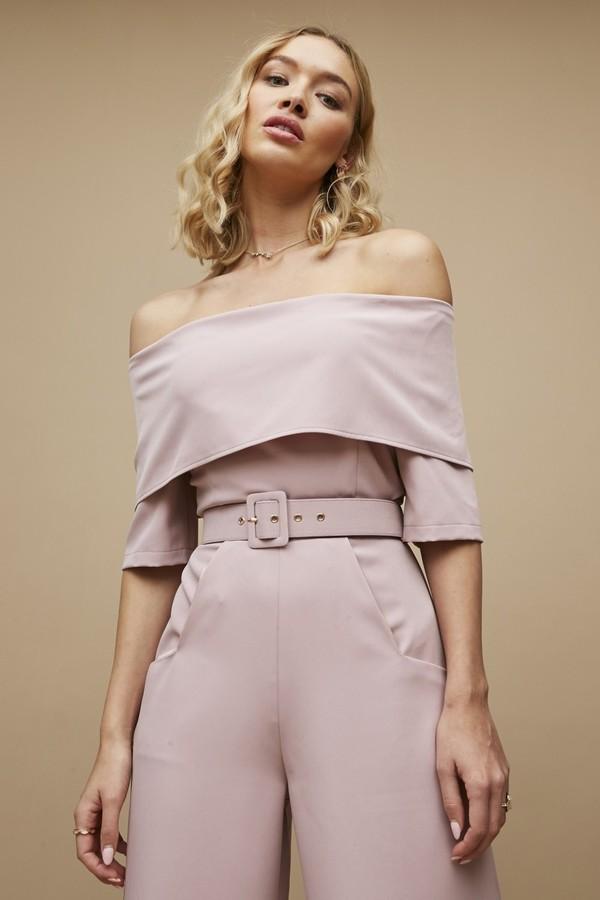 Paper Dolls Acacia Pink Bardot Belted Wide-Leg Jumpsuit