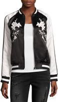 BELLE + SKY Satin Embroidered Bomber Jacket