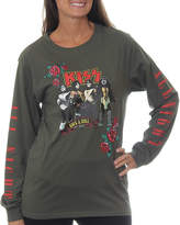 Asstd National Brand KISS Juniors' Rock Band Group Pose Rock and RollAll Night Long Sleeve Graphic T-Shirt with Embroidery