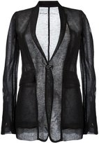 Rick Owens sheer ribbed blazer - women - Silk/Linen/Flax - 38