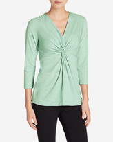 Eddie Bauer Women's Girl On The Go 3⁄4-Sleeve Twist Front Top