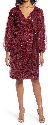 Chi Chi London Beaded Long Sleeve Faux Wrap Dress