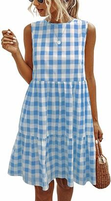 ihot Womens Casual Plaid Sleeveless Ruffle Sundress Round Neck A-Line Pleated Mini Short T Shirt Dress with Pockets