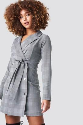 Trendyol Checkered Jacket Mini Dress Grey