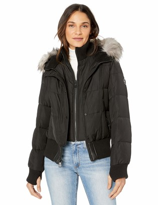 Vince Camuto Women's Warm Winter Jacket with Faux Trimmed Hood