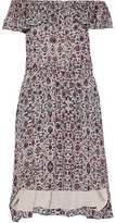 L'Agence Off-The-Shoulder Ruffled Printed Silk-Chiffon Dress