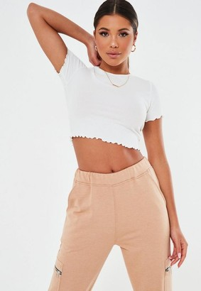 Missguided Waffle Texture Crew Neck Lettuce Hem Crop Top