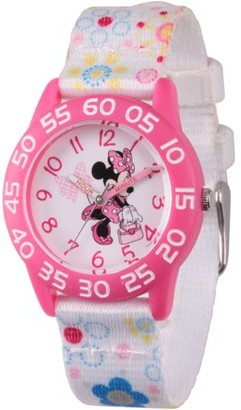 Disney Minnie Mouse Girls' Pink Plastic Time Teacher Watch, White Fabric Strap with Flower Printed