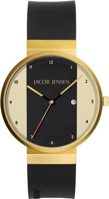 Jacob Jensen Unisex Analogue Classic Quartz Watch with Rubber Strap JJ734