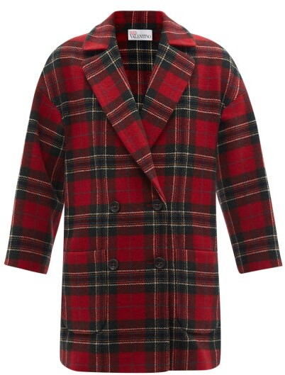 Thumbnail for your product : RED Valentino Double-breasted Wool-tartan Pea Coat - Red Print