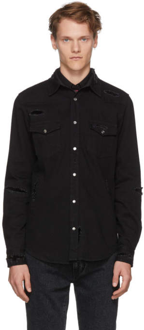 Alexander McQueen Black Distressed Denim Shirt