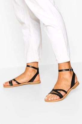 boohoo Triple Band Snake Detail Sandals