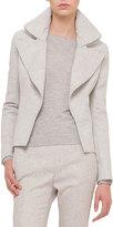 Akris Slim-Fit Cashmere Jacket W/Wide-Zip Detail, Gravel/Off White