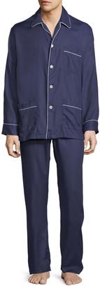 Derek Rose Men's Lombard 6 Cotton Pajamas with Piping