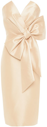 Badgley Mischka Strapless Bow-embellished Faille Dress