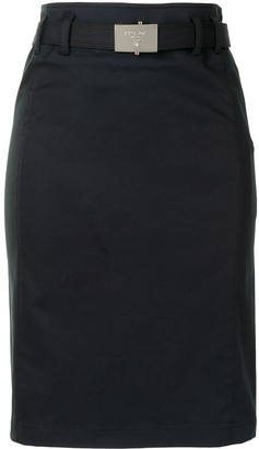 Prada Pre-Owned Logo Buckle Knee-Length Skirt