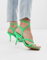 Asos Design DESIGN Heightened mid-heeled strappy sandals in neon green