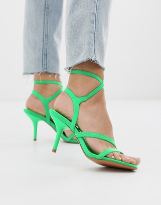 Asos DESIGN Heightened mid-heeled strappy sandals in neon green