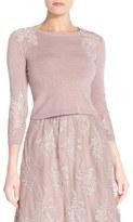Jenny Yoo Women's Lace Applique Crewneck Sweater