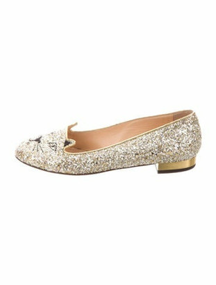 Charlotte Olympia Printed Loafers Gold