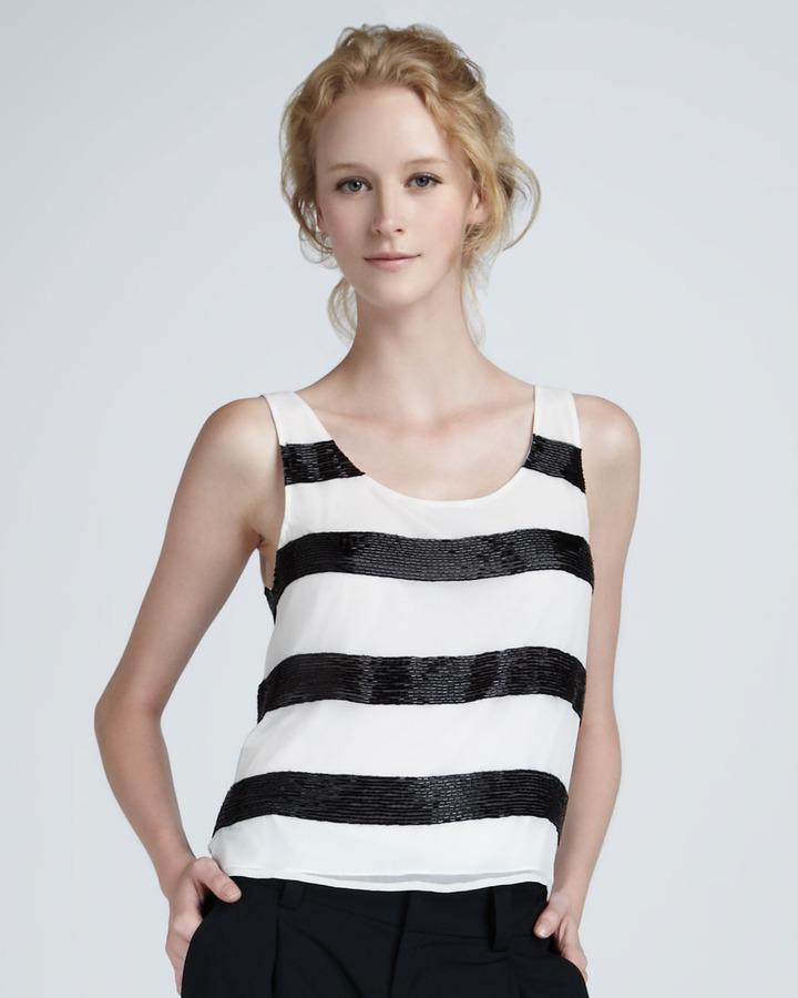 Alice + Olivia Hadley Bead-Stripe Tank